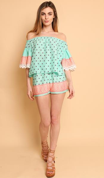 off the shoulder mint print top-1