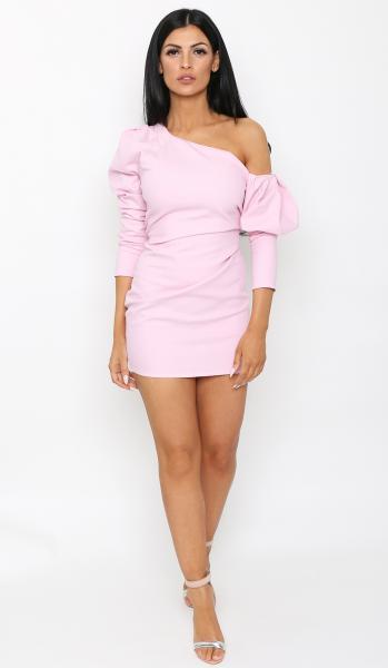 pink puff sleeve dress 3 -3