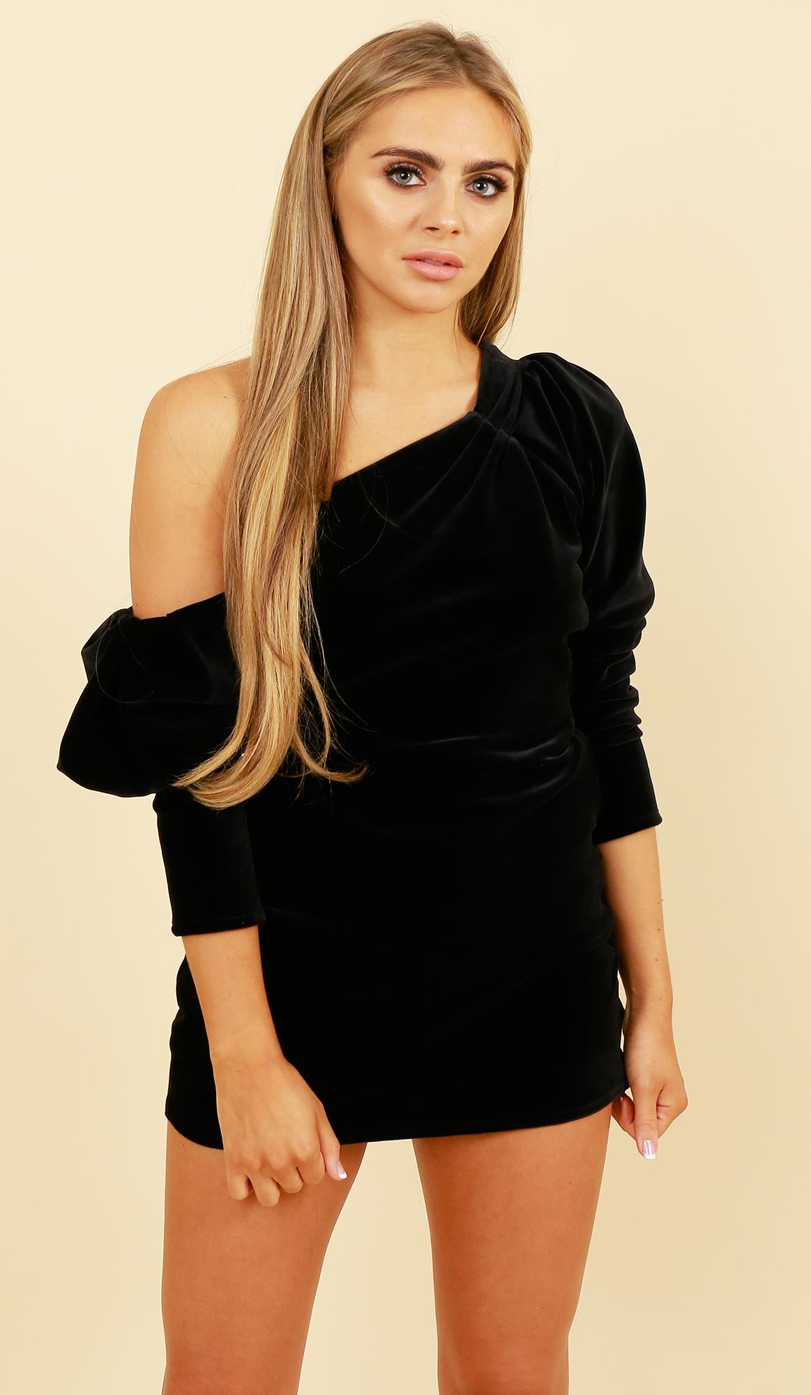 f72380ed8858 One Shoulder Puff Sleeve Dress  Black Velvet - Lola Loves Boutique