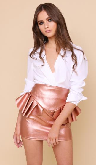 Kiki Frill Skirt / Rose Gold Metallic