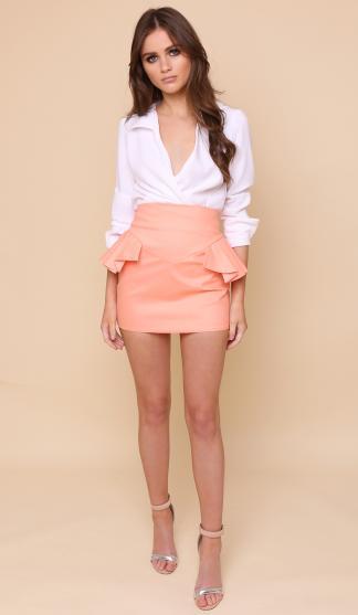 Kiki Frill Skirt/ Coral