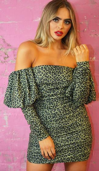 Leopard Puff Sleeve Dress /Green