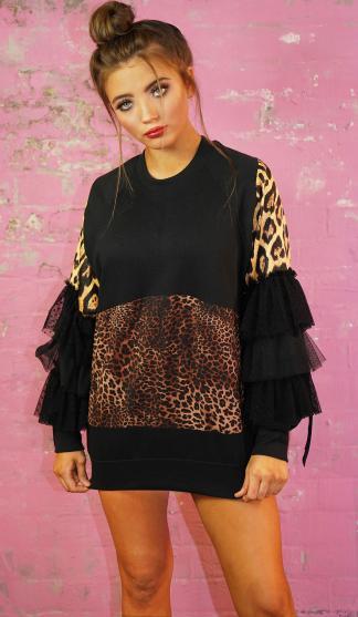 Leopard Frill Sweatshirt