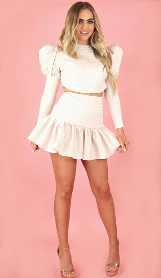 Siena Puff Sleeve Crop Top / Blush Pink