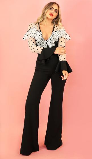 Lorena Spot Net Frill Bodysuit /Black & White