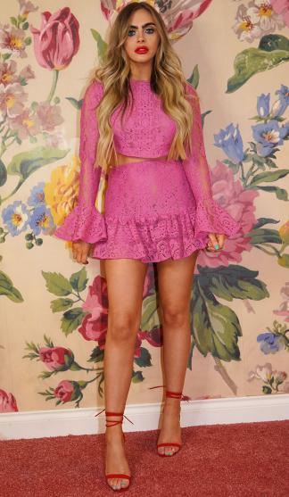 Brandi Pink Lace Frill Skirt