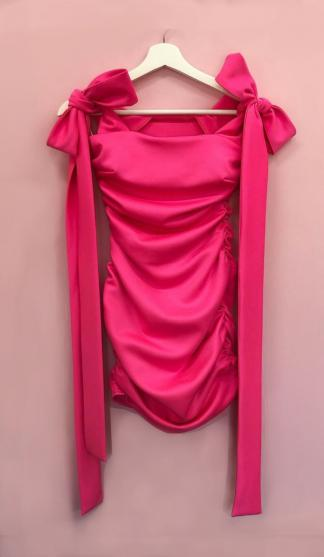 Cheeky Tie Shoulder Dress / Neon Pink