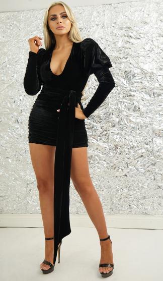 Velvet Ruched Skirt With Tie Belt / Black