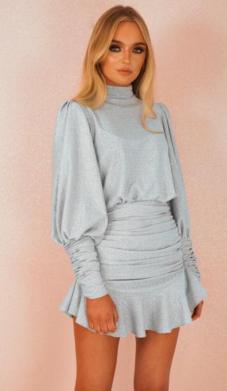 Harper Frill Skirt & Top Set /Baby Blue