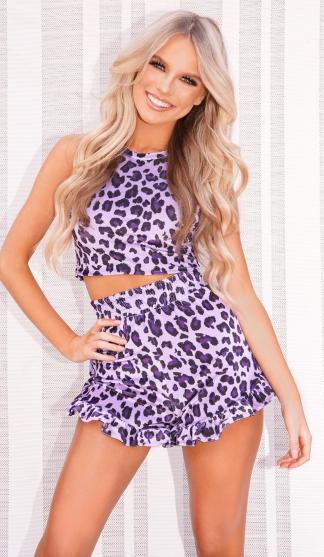 Leopard Kiki Frill Shorts & Crop / Lilac