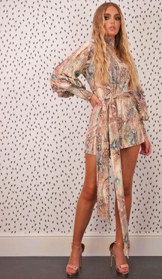 Snake Print Lulu Dress /Nude/ Green