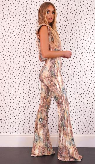 Snake Print Flares / Nude/Green