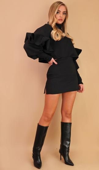 Frill Crop Sweatshirt & Skirt Set/ Black