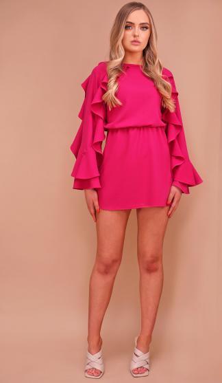 Savanna Frill Sleeve Dress /Pink