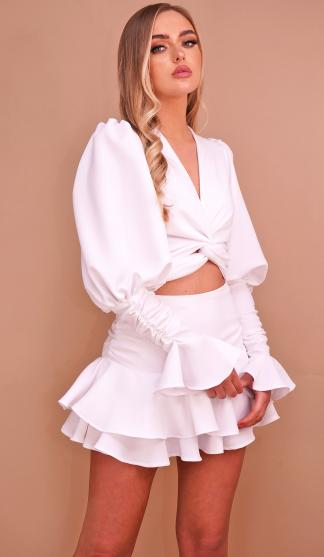 Sadie Wrap Tie Shirt & Frill Skirt Set With Frill Cuffs /White