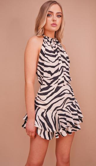 Nova Swing Backless Top & Frill Skirt Set  /Zebra Print
