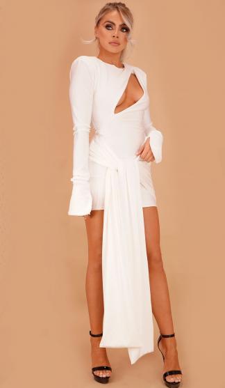 Gia Slash Front Dress/ White