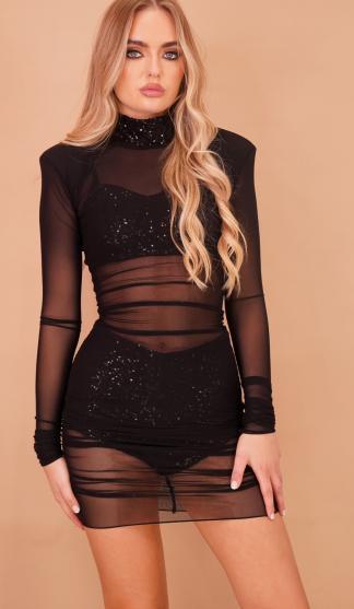 Sheer Mesh Dress With Sequin Bra & Knickers Set